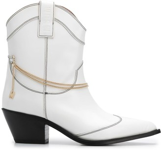 MSGM Western chain-detail ankle boots