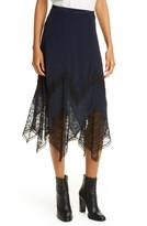 See by Chloe Lace Trim Handkerchief Hem Skirt
