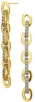 Ag+C 18K Goldplated & 1.008 TCW Diamond Chain Drop Earrings