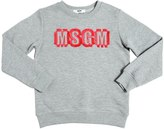 MSGM Fringed Logo Patch Cotton Sweatshirt