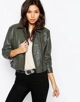 Asos Biker Jacket In Cropped Vintage Washed Leather