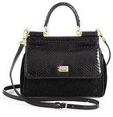 Dolce & Gabbana Sicily Python, Embroidered Lace & Velvet Mini Top-Handle Bag