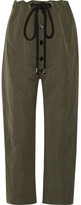 Marni Cotton And Linen-blend Gabardine Tapered Pants - Army green