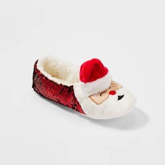 Women's Santa Flip Sequins Holiday Pull-On Slipper Socks - WondershopTM Red/Gold