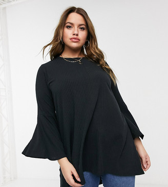 Yours ribbed flare sleeve top in black