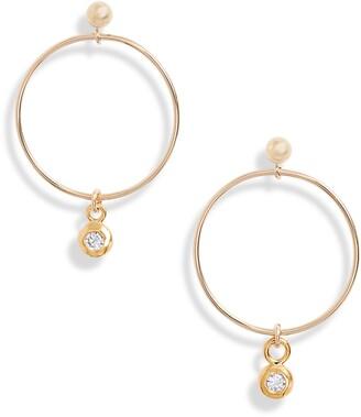 Set & Stones Set & Stone Willow Cubic Zirconia Charm Hoop Earrings