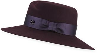 Maison Michel Virginie Rabbit Felt Fedora Hat w/ Satin Band