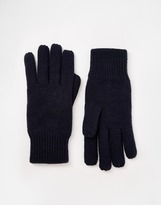 Selected Ribbed Gloves - Blue