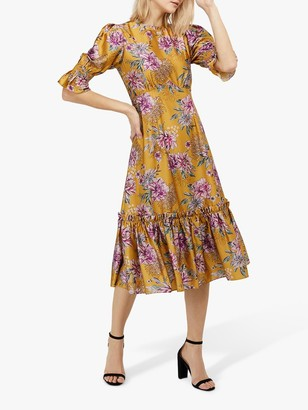 Monsoon Pagen Midi Dress, Yellow