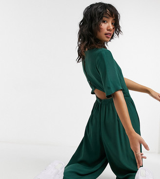 ASOS DESIGN petite button back jumpsuit in forest green