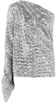 Roland Mouret Kara One-shoulder Sequined Stretch-knit Top - Silver
