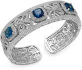 Macy's London Blue Topaz (7-3/4 ct. t.w.) and Diamond (1/10 ct. t.w.) Bangle Bracelet in Sterling Silver