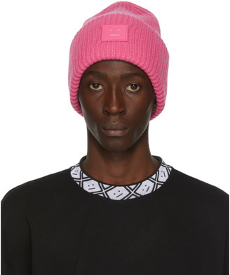 Acne Studios Pink Rib Knit Patch Beanie
