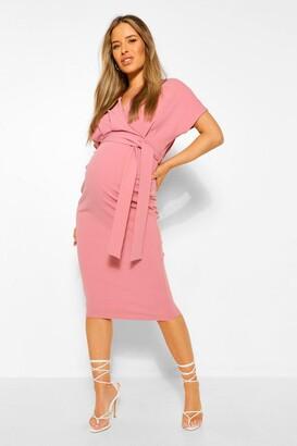 boohoo Maternity Wrap Tie Waist Midi Bodycon Dress
