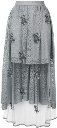 Stella McCartney embellished lace high-low skirt