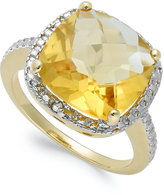 Townsend Victoria 18k Gold over Sterling Silver Citrine (6 ct. t.w.) and Diamond Accent Ring