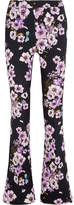 Giambattista Valli Floral-print Silk-crepe Flared Pants - Purple