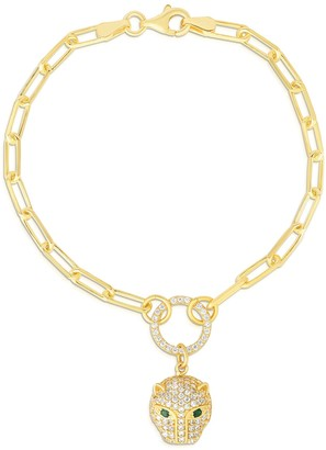 Sphera Milano 14K Yellow Gold Plated Sterling Silver Pave CZ Panther Link Bracelet