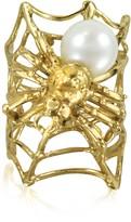 Bernard Delettrez Web and Spyder Bronze Ring w/Pearl