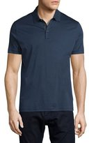 HUGO BOSS Knit Polo Shirt w/Contrast Placket, Navy