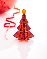Baccarat Noel Meribel Crystal Fir Tree Collectible, Red