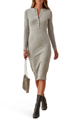 Reformation Stein Organic Stretch Cotton Long Sleeve Henley Dress