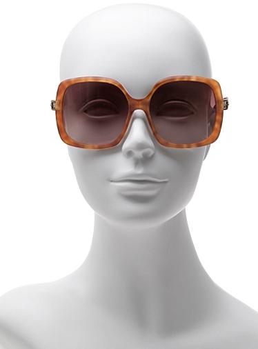 Diane von Furstenberg Zoe Chainlink Detail Oversized Sunglasses