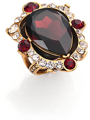Oscar de la Renta Pear-Cut Crystal Cocktail Ring