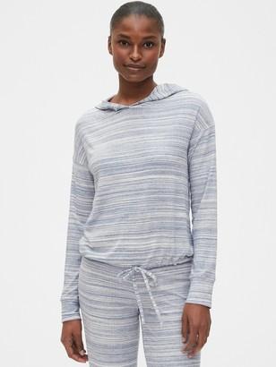 Gap Truesleep Drop Needle Pullover Tie-Front Hoodie in Modal