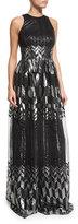 David Meister Sleeveless Metallic Printed Flowy Gown