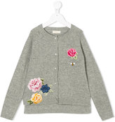 MonnaLisa floral embroidered knitted cardigan - kids - Acrylic/Polyamide/Wool - 12 yrs