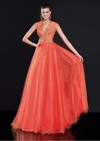 Tarik Ediz Embroidered V-Neck Gown 92596