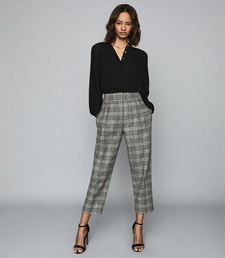 Reiss Arya - Checked Pleat Front Trousers in Multi