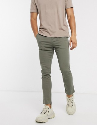 Asos DESIGN skinny chinos with elastic waist in khaki
