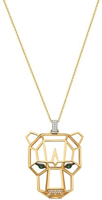 Effy 14K Two-Tone Gold, Emerald Diamond Panther Pendant Necklace