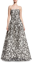 Oscar de la Renta Strapless Sequined-Embroidered Organza Gown, White/Black