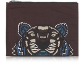 Kenzo Burgundy Canvas Tiger Clutch