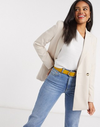 New Look double breasted blazer in stone