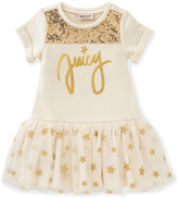 Juicy Couture White & Gold 'Juicy' Drop-Waist Dress - Infant & Toddler