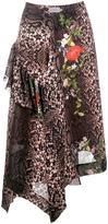 Preen by Thornton Bregazzi python print asymmetric skirt - women - Silk/Polyester - XS