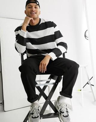 ASOS DESIGN oversized long sleeve organic cotton t-shirt in wide black stripes