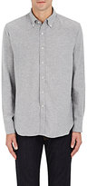 Barneys New York MEN'S HERRINGBONE COTTON FLANNEL SHIRT-GREY SIZE S