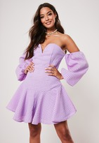 Missguided Lilac Bardot Puffball Sleeve Skater Dress