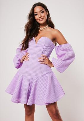 Missguided Lilac Bardot Puffball Sleeve Skater Dress