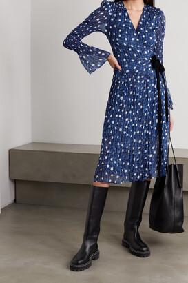 DIANE VON FURSTENBERG - Ani Velvet-trimmed Printed Chiffon Wrap Dress - Blue