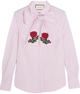 Gucci Embroidered Pussy-bow Cotton Blouse - Pink