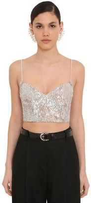 Magda Butrym Sequined Bustier W/crystal Straps