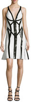 Herve Leger Sequined Sleeveless V-Neck Bandage Dress, Black/White
