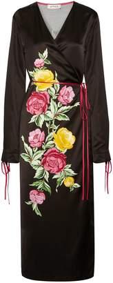 ATTICO Grace Floral-print Satin Wrap Midi Dress