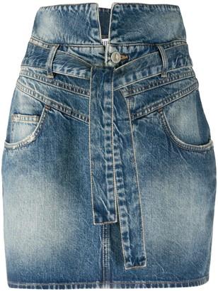 ATTICO Stonewash-Effect Denim Mini Skirt